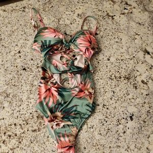 High Waisted Floral One Piece
